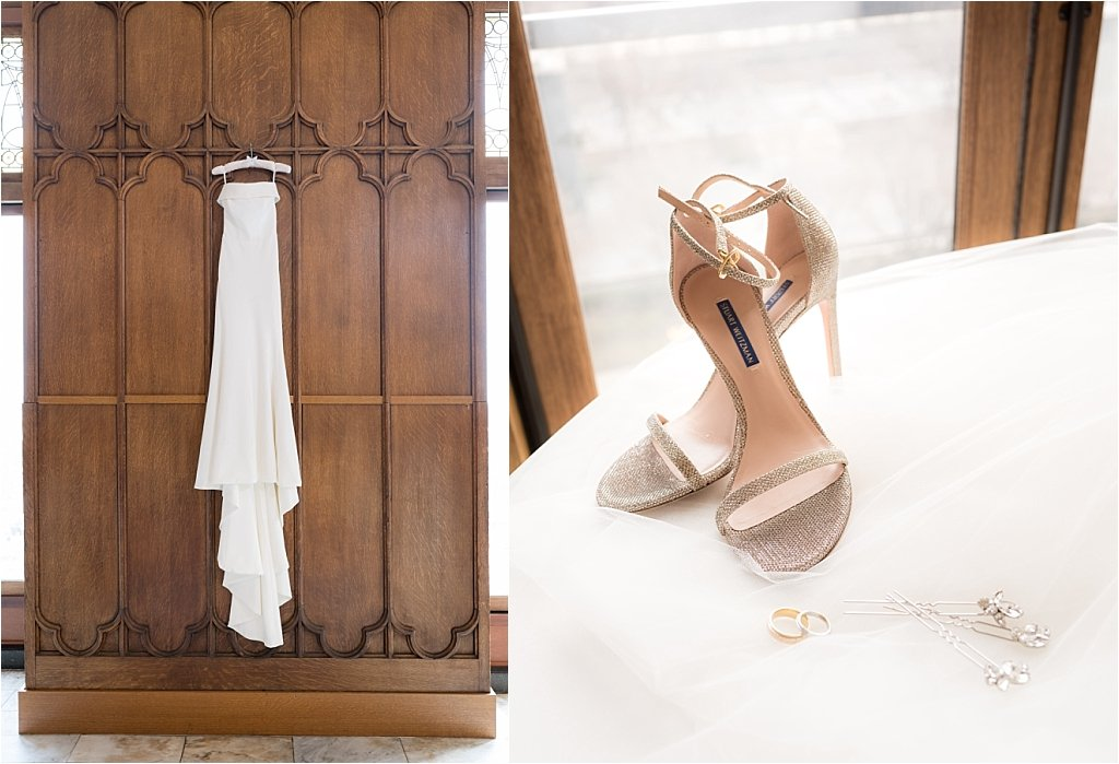 Leslie's white satin wedding gown with glittered silver stilettos, silver butterfly hairpin, and gold wedding rings
