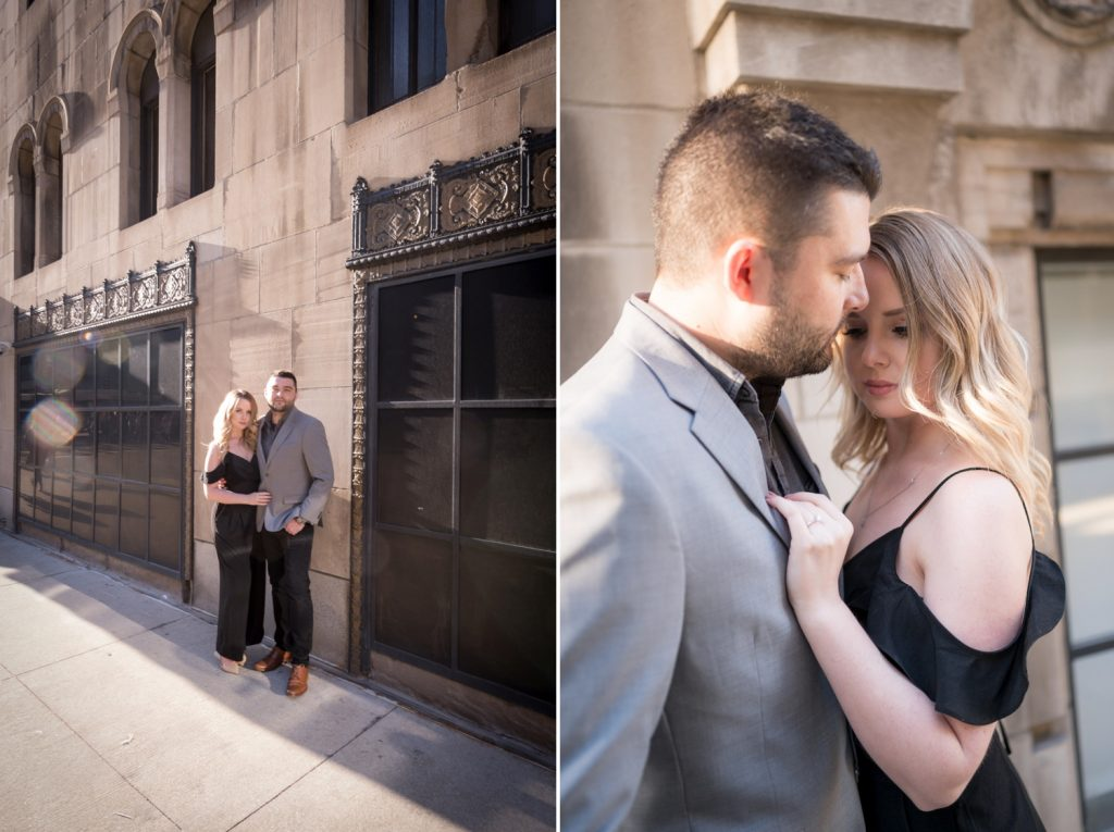 Jenna and Jon pose against an old building in downtown Chicago.