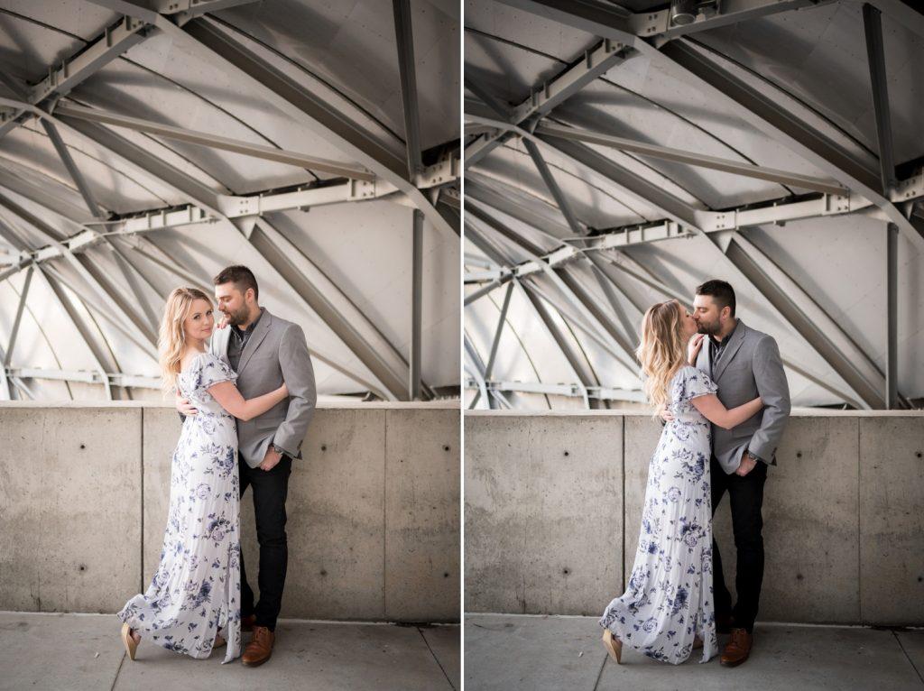 Jenna and Jon kiss in Millennium Park.
