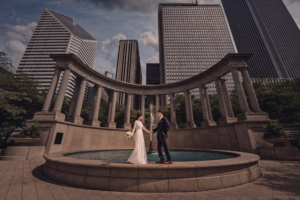 The contrast of elements in Millennium Park makes it a superb place for wedding portraits.