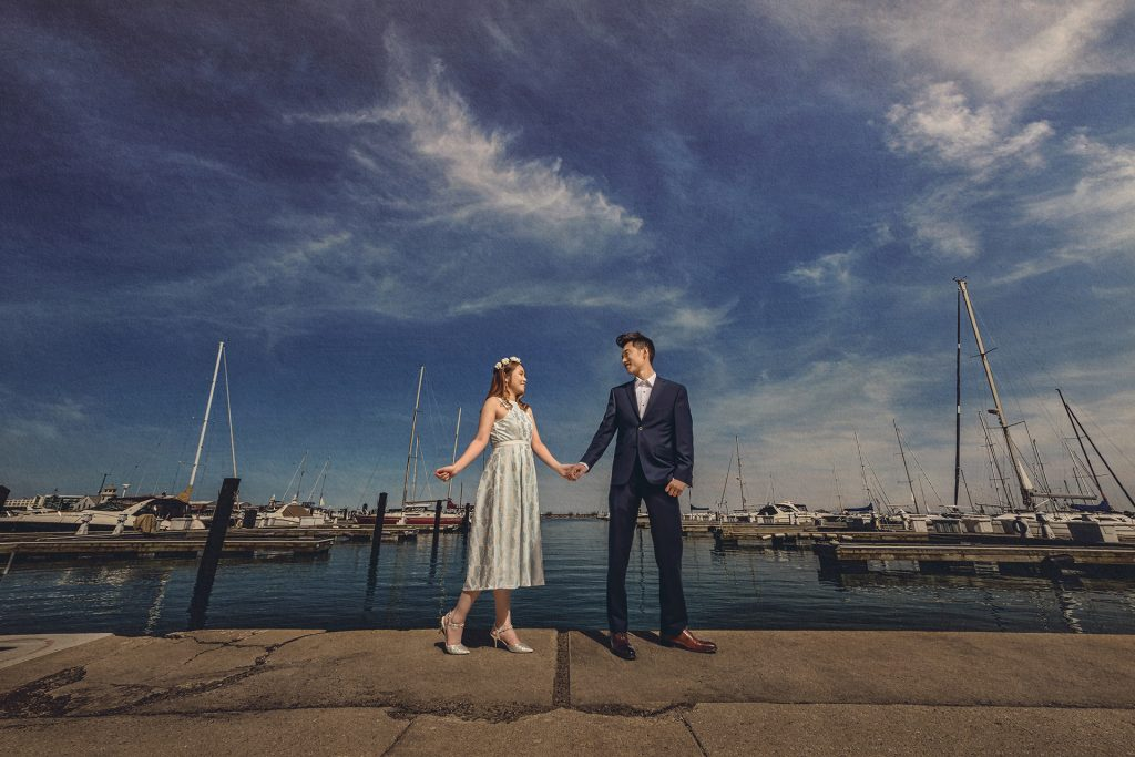 This gorgeous couple enjoyed their photo session in Monroe Harbor.