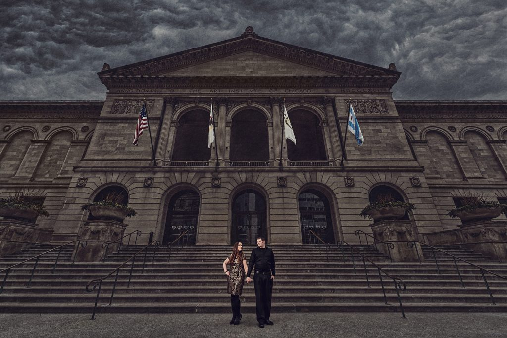 The Art Institute of Chicago's rich architectural design makes it one of our favorite engagement photo locations.